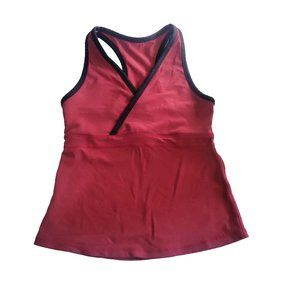 Lululemon Deep V Athletic tank top red black